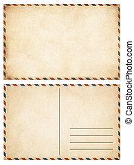 viejo, postales, conjunto, aislado