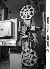 viejo, proyección, proyector, película