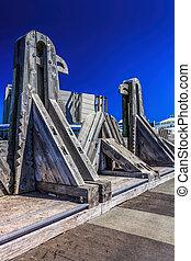 viejo, puente de madera, señal, -, destino, wellington