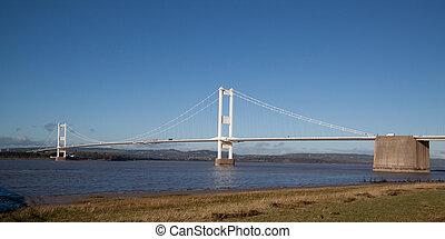viejo, puente de severn, de conexión, gales, y, inglaterra