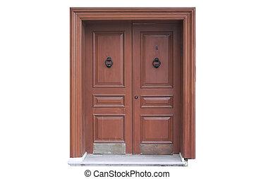 viejo, puerta de madera, blanco, plano de fondo