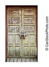 viejo, puerta de madera, marco