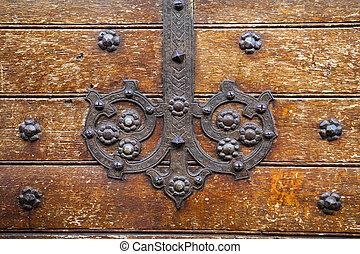 viejo, puerta, metálico, decoración