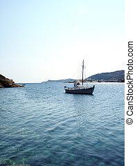 viejo, puerto, velero, mediterráneo, griego, madera, sifnos, mar, isla, faros
