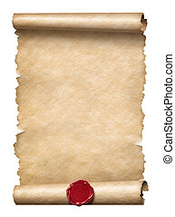 viejo, rúbrica, o, carta, con, sello de lacrar, aislado, blanco
