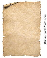 viejo, rasgado, aislado, bordes, papel, blanco