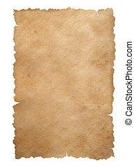 viejo, rasgado, aislado, bordes, papel, hoja, blanco