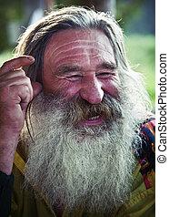 viejo, reír, hombre