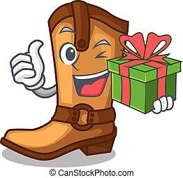 viejo, regalo, vaquero, carácter, botas, forma