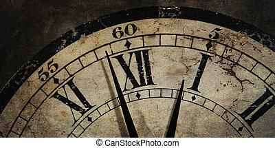 viejo, reloj, actuación, después, medianoche, tiempo, grunge
