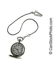 viejo, reloj de plata del bolsillo, reloj, con, cadena