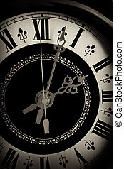 viejo, reloj, encima de cierre