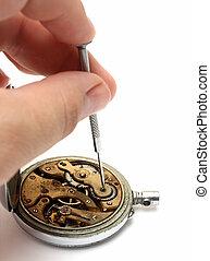 viejo, reloj, reparación