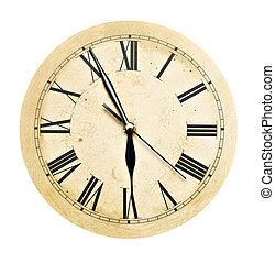 viejo, reloj, vendimia, aislado, cara, blanco