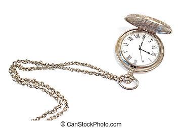 viejo, relojde bolsillo, con, cadena, aislado, blanco
