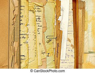 viejo, resumen, cartas, fotos, plano de fondo, archivo