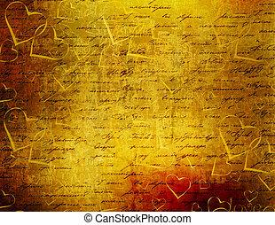 viejo, resumen, papel, plano de fondo, grunge, corazones,...