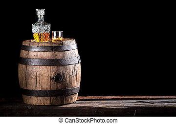 viejo, rocas, whisky, o, vidrio, dorado, aguardiente