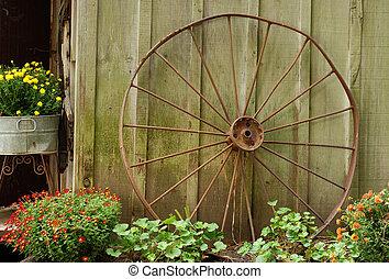 viejo, rueda del carro, reclinado, granero