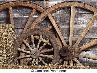 viejo, ruedas, de, un, carrito