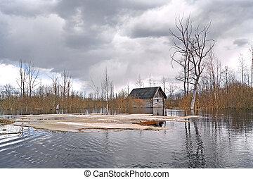 viejo, rural, casa, en, agua