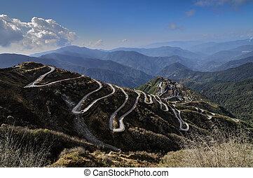 viejo, ruta, ruta, curvy, india, comercio, entre, caminos, ...