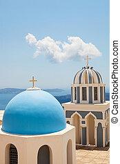 viejo, santorini, cúpulas, iglesia