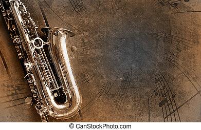 viejo, saxófono, con, sucio, plano de fondo