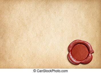 viejo, sello, papel, carta, cera, Pergamino, rojo