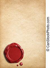 viejo, sello, papel, cera, Pergamino, rojo