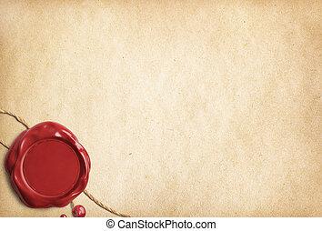 viejo, sello, pergamino, papel, carta, cera, o, rojo