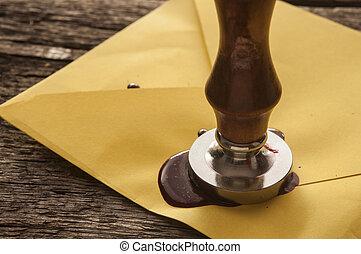 viejo, sello, sobre, sellos, cera, correo, rojo