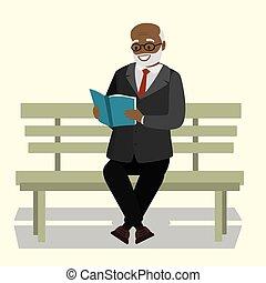 viejo, sentado, leer, banco, libro, hombre, aduelo, o, feliz