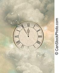 viejo, sepia, reloj