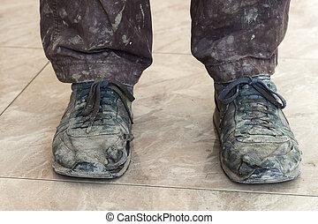 viejo, shoes, polvoriento, usado, sucio, afuera