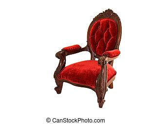 viejo, silla, terciopelo, formado, rojo
