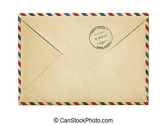 viejo, sobre, aislado, aire, papel, correo, poste, blanco