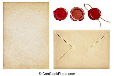 viejo, sobre, y, carta, papel, con, sello de lacrar, sellos, conjunto, aislado