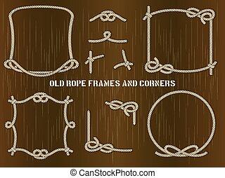 viejo, soga, marcos, y, esquinas, en, fondo marrón