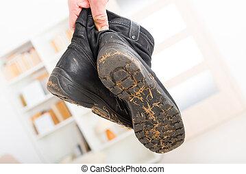 viejo, sucio, shoes