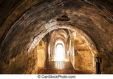 viejo, túnel, fin, luz