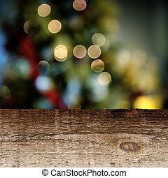 viejo, tabla de madera, con, festivo, plano de fondo