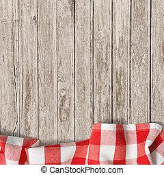 viejo, tabla de madera, con, rojo, picnic, mantel, plano de...