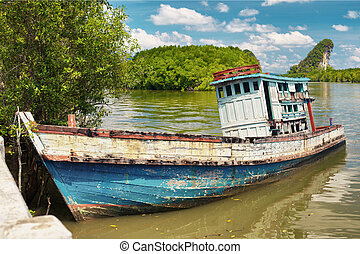 viejo, tailandés, barco