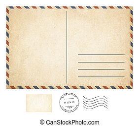 viejo, tarjeta del poste, y, colecciónde estampillas,...