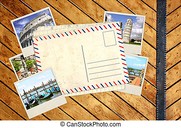 viejo, tarjeta del poste, y, fotos