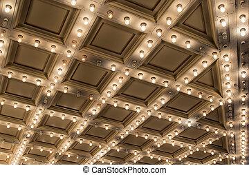 viejo, techo, marquesina, teatro enciende