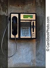 viejo, teléfono, máquina