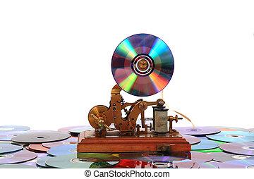 viejo, telégrafo, con, cd, o, dvd