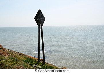 viejo, telégrafo, de madera, mástil, cerca, el, mar, en, irlanda